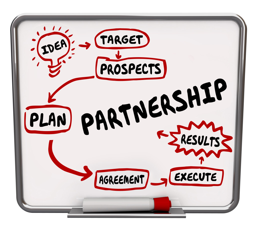 Partnership word written on a dry erase board to illustrate a workflow diagram, plan or strategy for joining or combinging forces with another company or person
